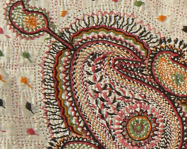 Beautiful Large Kantha Quilt From West Bengal Region Of