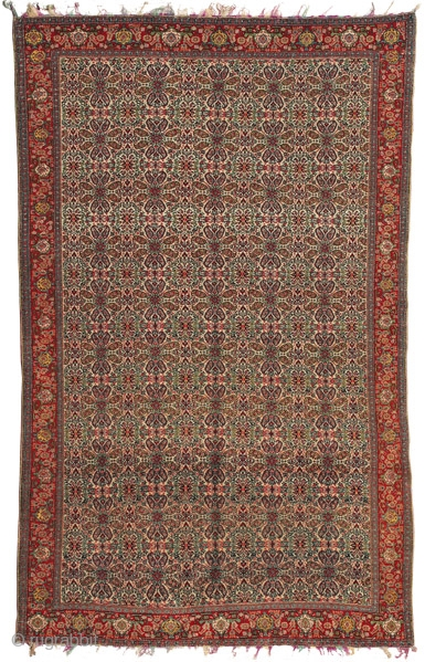 """Senneh Haft Rangh rug West Persia circa 1880 200 x 130 cm (6'7"""" x 4'3"""") symmetrically knotted wool pile on multi-coloured silk warps and silk wefts   From the Persian for 'seven colours', the Senneh haft rangh rugs  ..."""