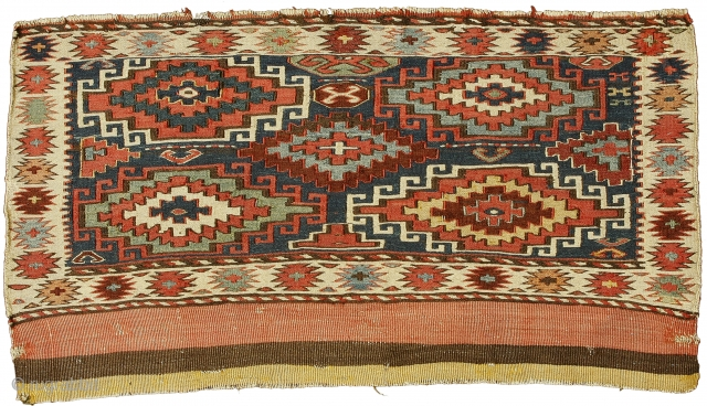 Sumak mafrash front panel, Shahsavan Confederacy , Boz Qush mountains, Hashtrud-Miyaneh region , Northwest Persia, Circa 1870, 54 x 98 cm (21.5 x 38.5 in.)   Knot count:23 wrapping wefts/inch. Colours:coral pink, maroon, apricot,  ...