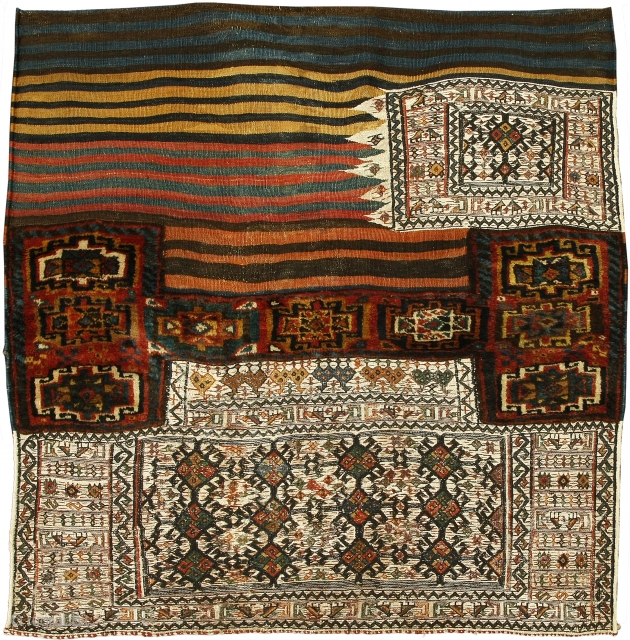 Sumak and pile large bedding bag panel, Bakhtiari tribe, West Persia, Circa 1900, 122 x 114 cm (48 x 45 in.) 