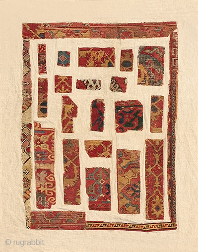 A collection of Anatolian rug fragments, 16th-17th century, 110 x 88 cm (43.5 x 35 inches). Featured in our latest web exhibition entitled AS FOUND - a collection of unrestored early rugs  ...