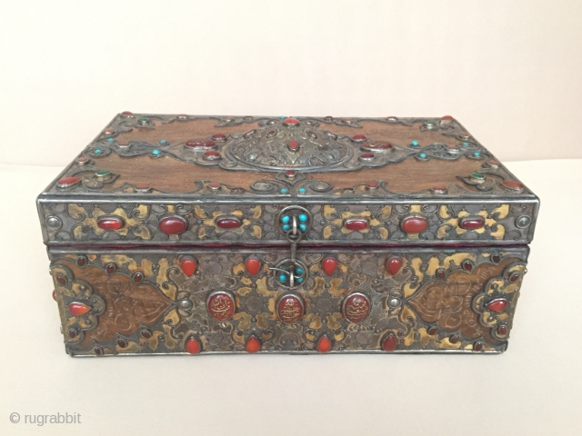 Central-Asia Kazakystan a beautifull collection silver box with wood fire gilded with cornalian all stone writting İslamic - for good luck and writing on the wood Great Condition ! Circa-1900 Height :  ...