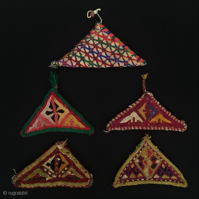 Turkmen-Yomud-Ersary-Tekke 5 pieces Talisman silk embroidery amulet very fine condition  Thank you for visiting my rugrabbit store !