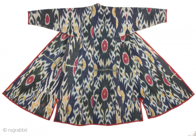 Super antique quilted Uzbek silk  Ikat chapan ca 1880