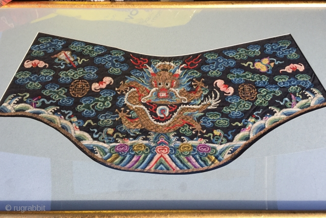 Very fine antique Chinese kesi collar from a robe mid 19c  Silk and gold thread in glass frame