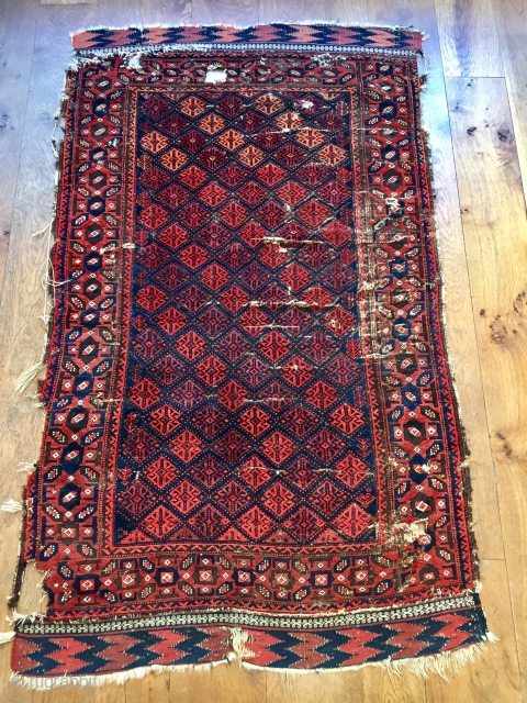 Early Baluch rug with great colour and velvety wool mid 19 c size 174 x 101 cm Great details and kelim ends the earliest I have seen with this border. A Great Wall  ...