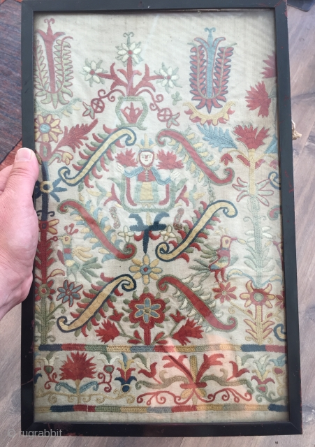 Beautiful Cretan skirt fragment ca 1700 silk on linen with unfaded natural colours.