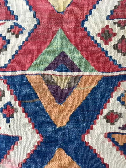 Antique Turkish kelim fragment with dreamy colours and great design 