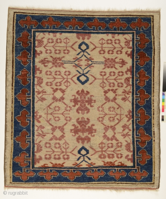 Kyrgyz wedding carpet (kyz toi giliam), Aksu/Kashgar area, Chinese Turkestan, c.1870, weft and warps are wool, 124 x 105 cm, natural colours. Unique piece.