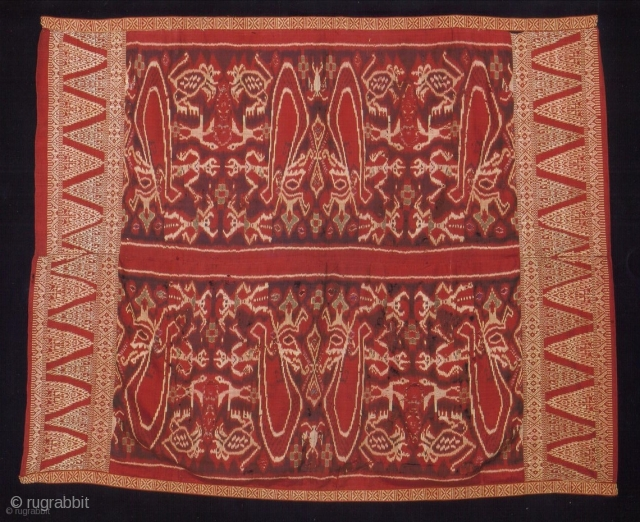 Indonesian Balinese textiles Indonesia - Bali 008, Endek outer hip cloth for men, Silk Ikat, approx. 80 years old, condition; some damages.