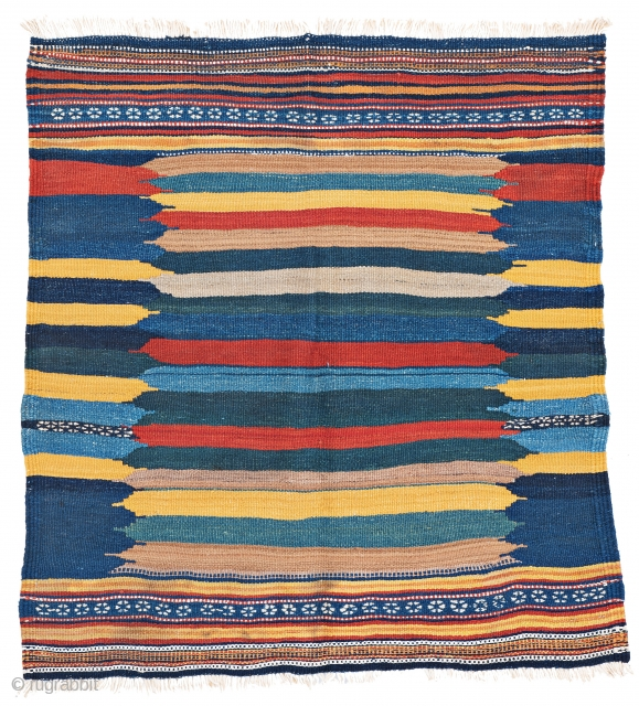 Kamu Sofreh, 110 x 103 cm (3 ft. 7 in. x 3 ft. 5 in.), Persia, ca. 1940, Starting bid € 180, Auction March 9th at 4pm, https://www.liveauctioneers.com/item/69398401_kamu-sofreh