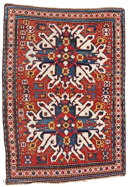 Lot 19, Eagle Kazak, 208 x 142 cm (6ft. 10in. x 4ft. 8in.), starting bid € 3000, Auction on April 7, 5pm, https://www.liveauctioneers.com/item/60930655_eagle-kazak