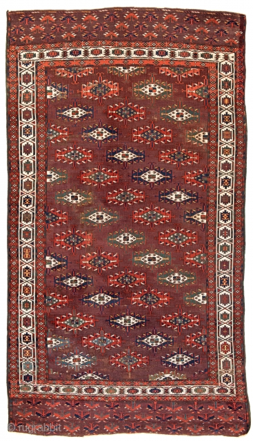 Abdal Main Carpet, 325 x 183 cm (10 ft. 8 in. x 6 ft.), Turkmenistan, mid 19th century, Starting bid € 2000, Auction May 18th at 4pm, https://www.liveauctioneers.com/item/71359928_abdal-main-carpet