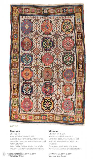 Lot 37, Moghan, 211x136cm, Auction December 15th at 4pm, Sarting bid € 400, https://catalog.austriaauction.com/en/fine-antique-oriental-rugs-xiii/136-moghan.html