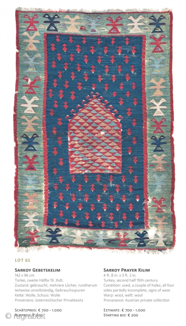 Lot 61, Sarkoy Kilim, 142x96cm, 19th century, Starting bid € 200, Auction December 15th at 4pm, https://www.liveauctioneers.com/item/67152350_sarkoy-prayer-kilim