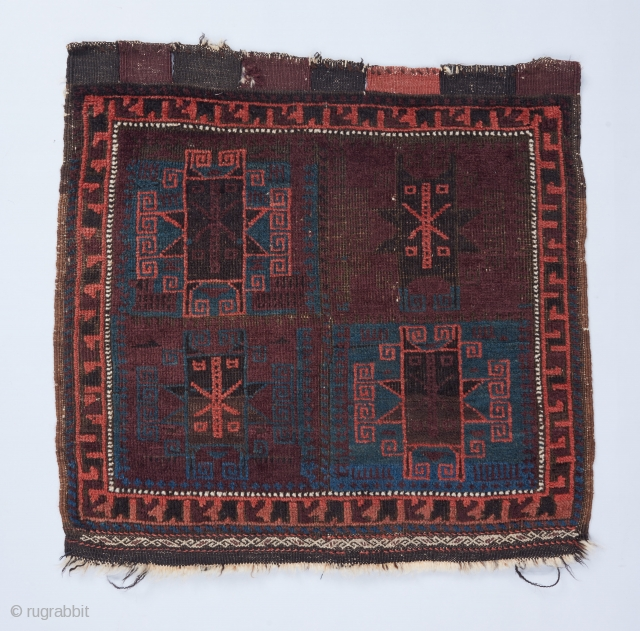 "Baluch bag face with a rare, beautiful color palette. 2'2""x 2'2"". All original . Corroded black."
