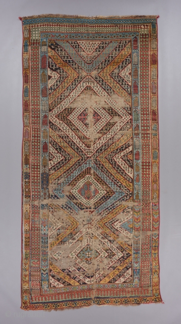 "Super funky Caucasian long rug with very good age, at least mid 19th. Very soft handle and lose weave. 9'6"" x 4'6. 