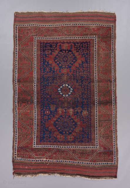 """Baluch. 6'5"""" x 4'. Great field design with classic border. Good age. Possibly Timuri?"""