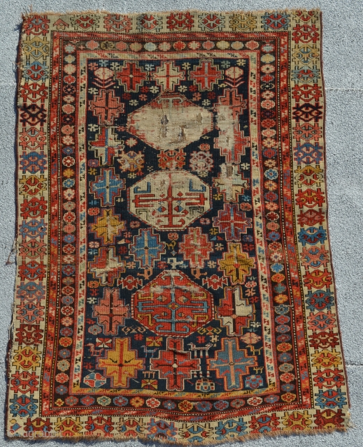 "Old Shirvan with rich colors.  4'3"" x 3'2""."