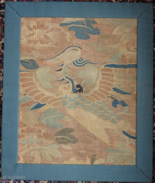 "Silk Chinese kesi fragment with a beautifully drawn phoenix. Ming dynasty, 15th/16th cen. Mounted and conserved with frame. 14""x18"" plus 2"" of frame."