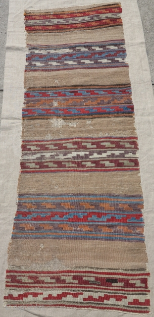 """Anatolian kilim, thin and fine with striped bands with geometric design on a camel ground. mounted and conserved. 22"""" x 65"""". McCoy Jones-esque?"""