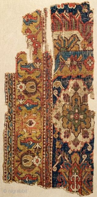 Caucasian blossom carpet fragment, circa 1700, 57x123cm