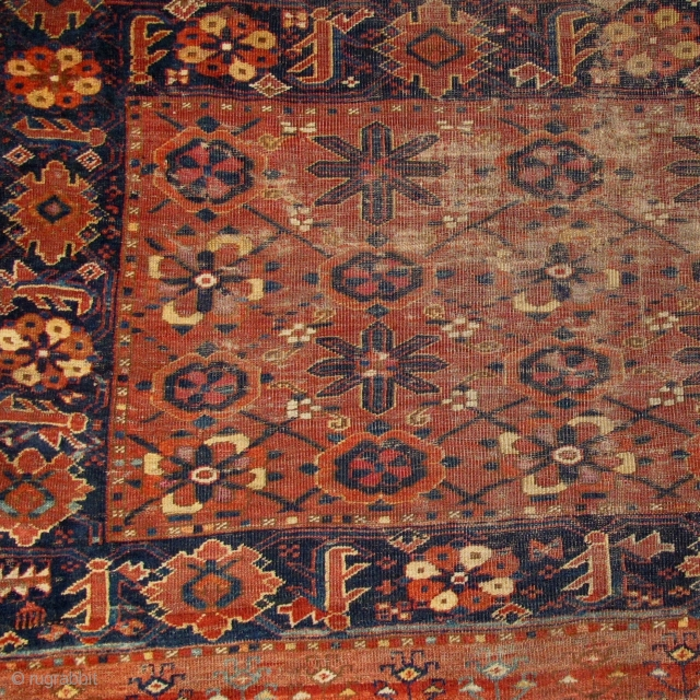 Central Asian Ersari chuval with mina-khani design. an early version of this type with two shades of insect pink, silk,two or three golds, and several shades of blue including a light sky-blue.  ...