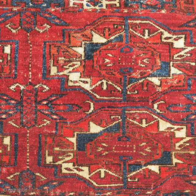Six Gul Tekke Torba, a nice honest earlier example with great wool quality and color. Obvious condition issues. Recently found in Greece.