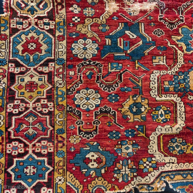 Detail from a so-called 'Golden Triangle' group carpet. Woven arguably in either Northwest Persia or Eastern Anatolia at a time when the border between these two areas was more fluid, circa 1700?