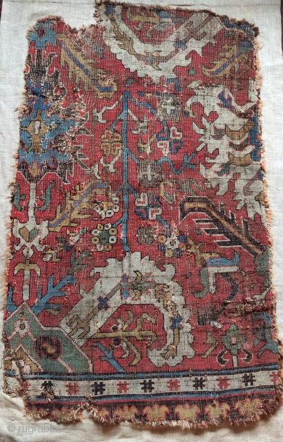 "Classical Caucasian Kuba blossom carpet fragment. Great color, drawing, and structure. 2'2""x 3'7"""