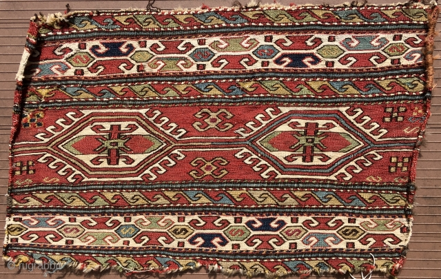 "SHAHSAVAN SUMAK MAFRASH END PANEL.   23"" x 14,"" The white is cotton.  The back shows lots of weft floats.  Colors are good.  Top and bottom edges not  ..."