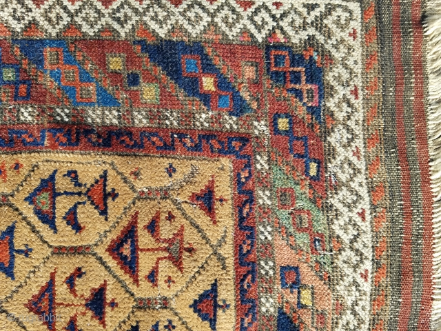 "Baluch - about 31"" x 56"".  Camel field and colorful.  evenly worn.  $350 USD or best offer + ship"