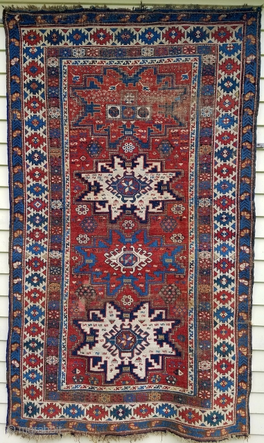 "Leshgi star rug - about 6'9"" x 4'.  Nicely executed drawing and color.  