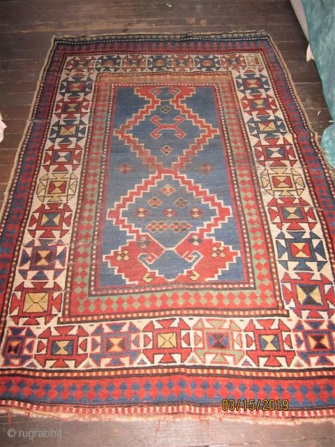 OLD KAZAK WITH ALL GOOD NATURAL DYES AND 4 X 6 FT SIZE $450