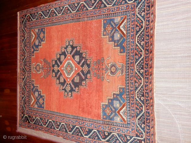 ANTIQUE AFSHAR - SQUARE 4 X 4 FT SIZE- PERHAPS WOVEN FOR A SPECIAL PURPOSE 