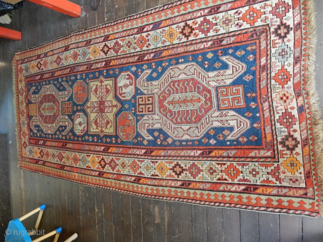 ANTIQUE KAZAK - EXCELLENT PILE - 3 MINOR SEWING REPAIRS - 4 X 8 FT SIZE- BOTH ENDS SECURED AS SHOWN - NEEDS A GOOD WASH   $1250 OR BO