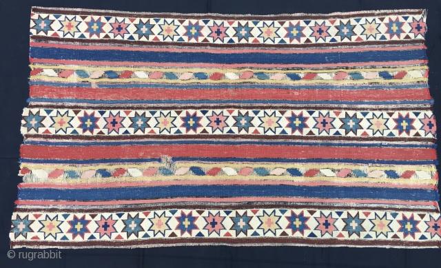 Azerbaijan. Stars & stripes. Shirwan kilim fragment. Cm 100x170 ca. Second half 19th century. Big & beautiful. Black stripes completely oxidized.