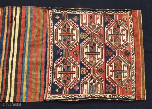 "Shahsavan sumack khorjin. Cm 43x113. End 19th century. Complete and in good condition. Very fine weave. All natural lovely dyes. Bags are filled with white hooked hexagons containing ""Kochanak"" motifs. Brand new  ..."
