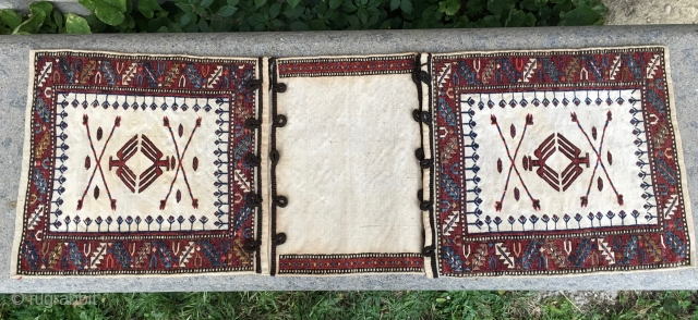 White Sumack Baku khorjin. Shahsavan? Cm 33x96. Early 20th c. Rare and beautiful. Wool, cotton, silk. In good condition.