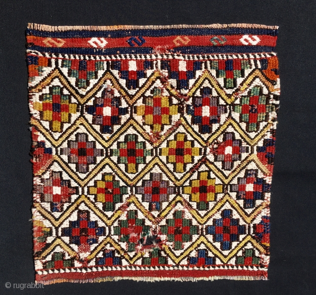 """Qashqai sumack khorjin bag face. Cm 38x38 ca. Datable 1890/1900 considering some fuchsine present. Very bright colors. wool and cotton. A sweet beauty, almost a mini """"killer""""....."""