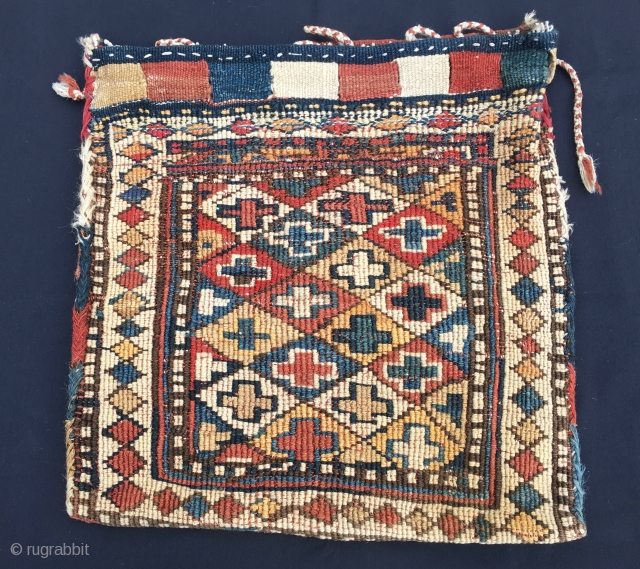 Shahsavan reverse sumack bag. Cm 46x46. End 19th/early 20th c. Antique, beautiful, proportioned, with great natural saturated colors. Just in after long journey. In very good condition.