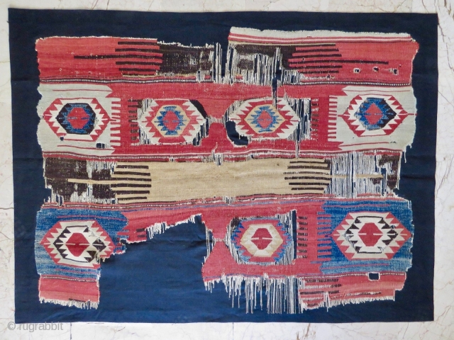 Balikesir, Western Anatolia kilim fragment. Cm 129x173. end 19th c. Great & rare pattern. Lovely colors. A similar piece appeared on the front cover of the Eskenazi catalogue.