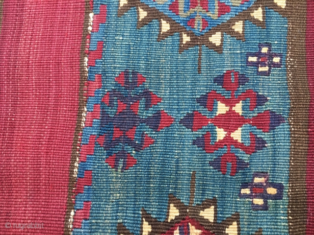 Reyhanli open cuval. Cm 127x135. Late 19th or early 20th c. Wonderful saturated colors. Mind the cochineal! In rather good condition.