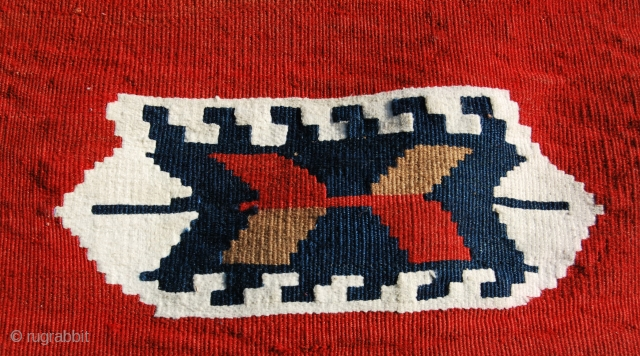 Karabagh kilim mafrash panel. Early 20th century. Cm 50x100 ca. Good condition. See more pics on fb: https://www.facebook.com/media/set/?set=a.10151690333839258.1073741856.3... Or on Picasa: https://plus.google.com/photos/102077108999072625754/albums/5880861146917689505?banner=pwa