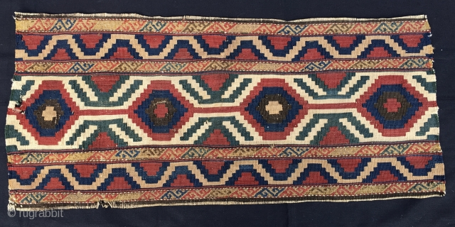 Caucasian mafrash long panel. It should be a Kazak Bordjalu. Cm 50x110 ca. Make it a wonderful bed side rug or hang it. Antique & cheap. Pretty good cond.