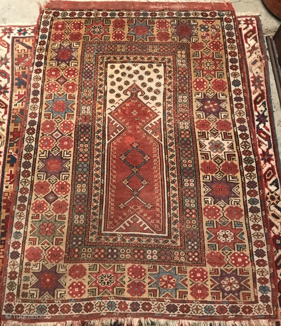 """Melas Prayer Rug. Southwest Anatolia, mid-1800's, 4'10"""" x 3'6"""", all natural dyes, old repairs, rich saturated colors."""