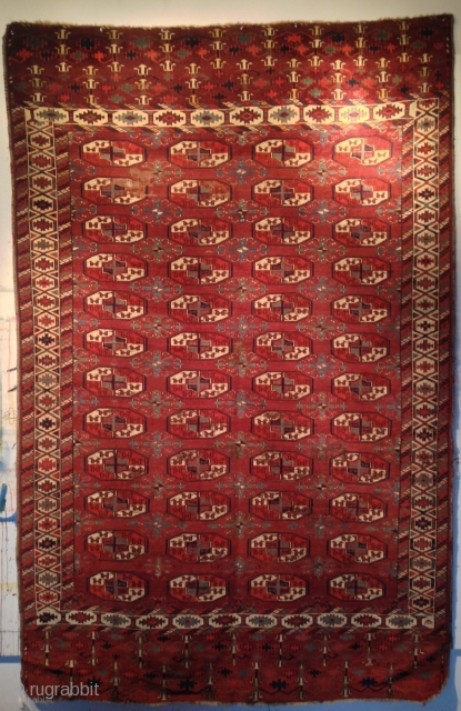 "Yomud Main Carpet. All natural dyes, no re-weaving, rich saturated colors. Some wear. Circa 1800. 9' 3"" x 5' 10"". a fine example with exceptional forms. From a known collection and a  ..."