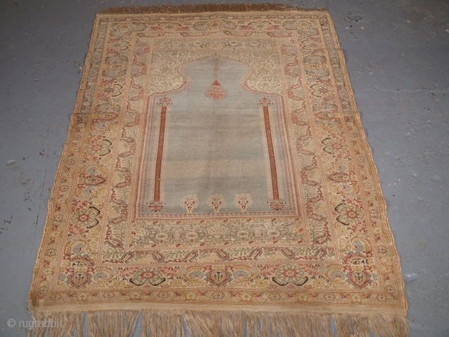 Antique Ghiordes prayer rug, blue ground, 19th century.