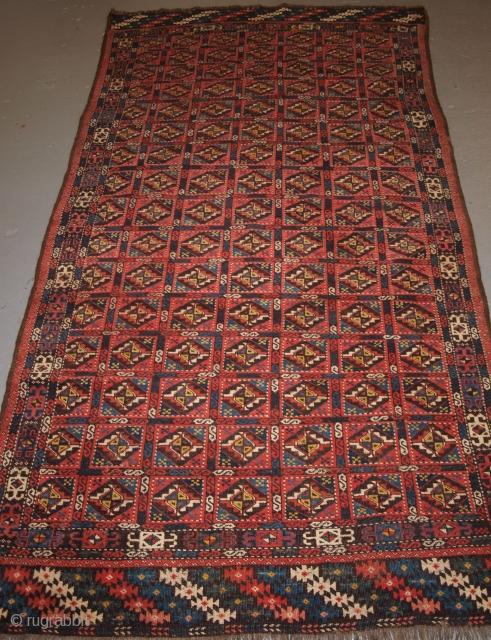 Antique Chodor Turkmen main carpet of small size, 4th Quarter 19th century. www.knightsantiques.co.uk Size: 250 x 130cm.