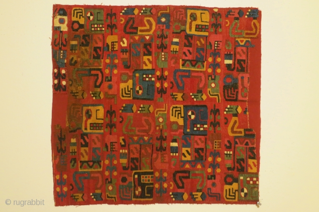 Pre-Columbian panel with 8 deity figures, Peru, Late Middle Horizon, circa 1000-1200 AD, 23 x 24 inches. Condition: remaining selvage on all 4 sides, some staining, some losses. The patterning is created  ...